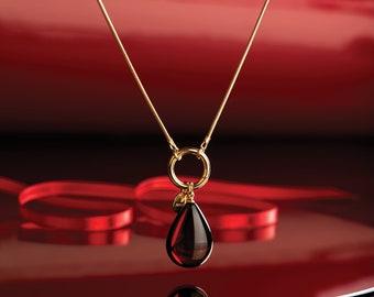 Amber drop pendant, Amber teardrop, Red teardrop, Baltic amber pendant, Amber gold pendant, Amber cherry pendant, Cherry amber