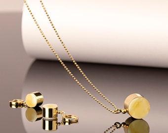Amber set, Amber jewelry, Jewelry set gift, Amber earrings gold, Amber pendant gold, Baltic amber pendant, White amber, Geometric jewelry