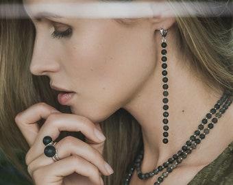 Black Amber Bead Earrings - Perfect College Graduation Gift For Her, Long Dangle Earrings, Graduation Jewelry, Jewelry for Graduation Party