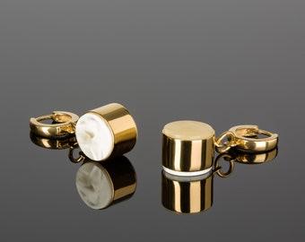 Geometric Earrings with Baltic Amber MARCIPANO