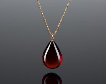 Deep red amber pendant CHERRY DROP