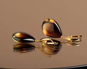 Cognac amber teardrop earrings in gold vermeil | Honey amber drop earrings | Unique luxury jewelry gift