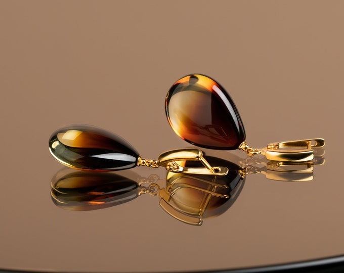 Featured listing image: Cognac amber teardrop earrings in gold vermeil   Honey amber drop earrings   Unique luxury jewelry gift