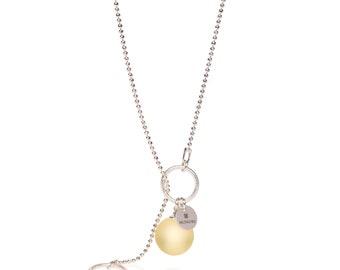 Lemon amber pendant, Adjustable necklace, Y necklace silver, Yellow amber pendant, Yellow stone pendant, Silver amber pendant, Lemon pendant