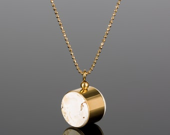 White amber pendant with gold bead chain | Geometric necklace with gold vermeil pendant and royal amber | Luxury necklace