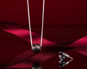 Black Amber Jewelry Set with Silver NOIR
