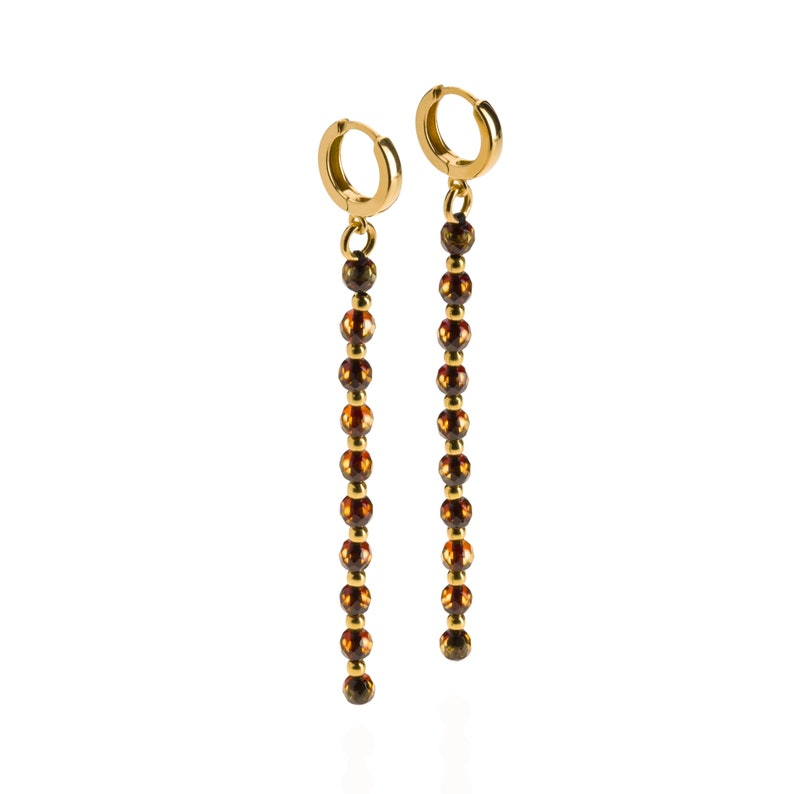 Evening Earrings with Luxury Green Amber Beads and Gold Plated Clasp in a White Jewelry Box
