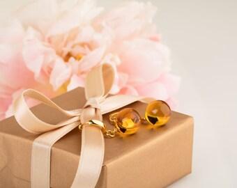 Amber drop earrings, Amber earrings, Yellow drop earrings, Amber gold earrings, Cognac amber, Yellow amber, Gold drop earrings, Baltic amber
