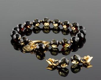 Amber set, Amber jewelry, Faceted amber, Amber green, Amber earrings, Amber gold, Elegant bracelet, Baltic amber, Stone gold bracelet