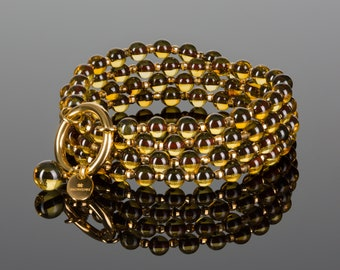 Amber bead necklace, Amber bead bracelet, Yellow necklace, Long necklace, Genuine amber necklace, Baltic amber jewelry, 24k gold vermeil