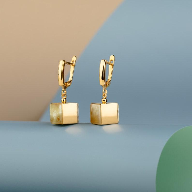 Baltic Amber Earrings Gold White amber earrings Drop image 0