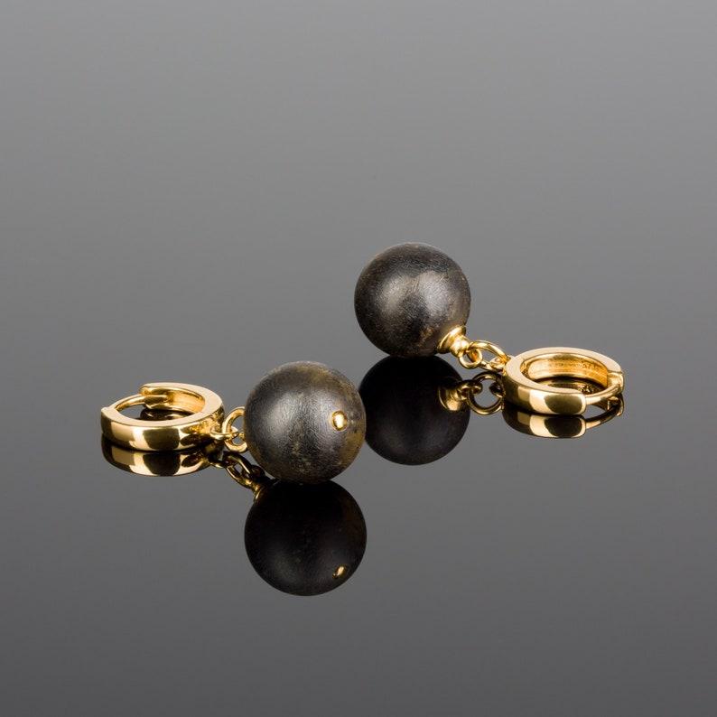 Black amber Amber earrings Natural Baltic amber Amber image 0