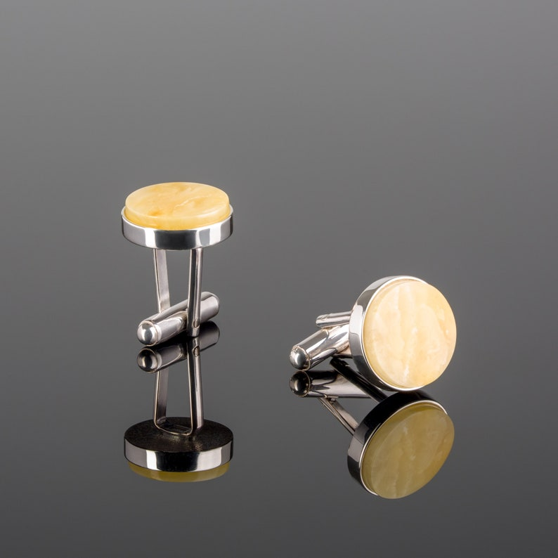 Father of the Bride Gift for Him or Bride to Groom Gift Personalized Gold Cufflinks with White Baltic Amber Amber Cufflinks for Groom