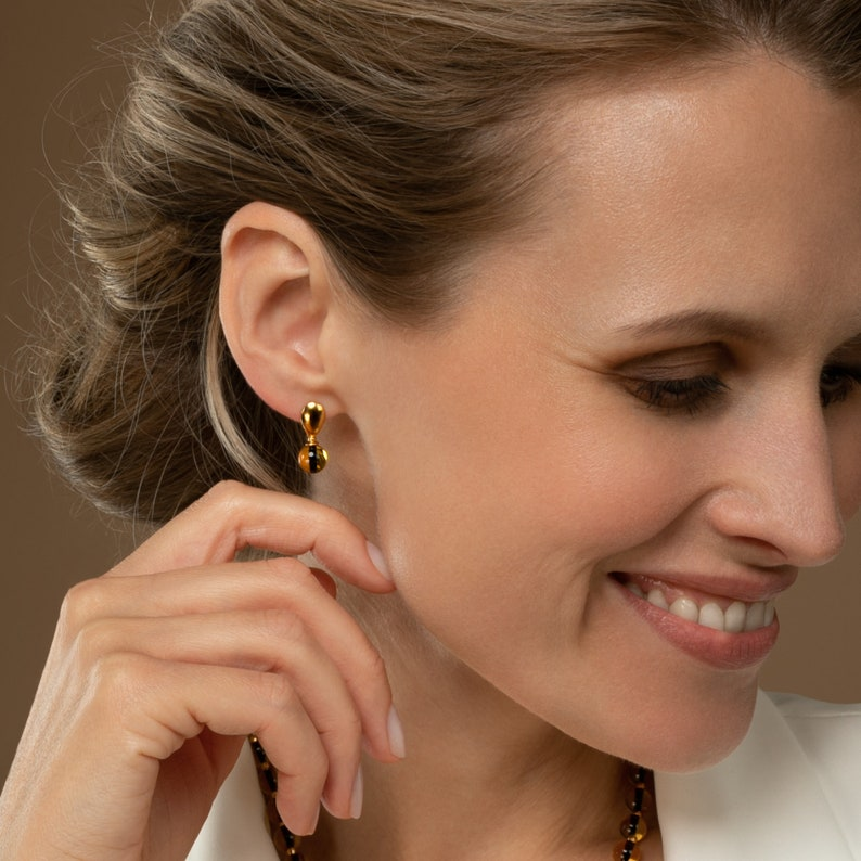 Exclusive Anniversary Gift in a Gift Box with a Gift Card Gold Amber Earrings with a Gemstone Drop