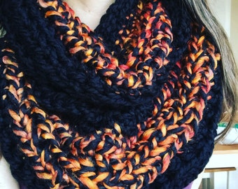 Bold Black Snood with Red and Orange Accents