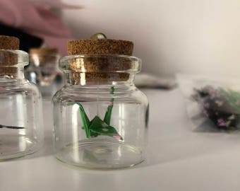 Mini Origami Crane in Glass Bottle