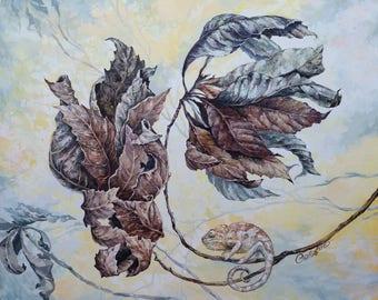 Chameleon,Still life,Acrylic on canvas, Home decor