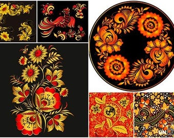 Khokhloma – Russian ornaments in vector format 24 EPS