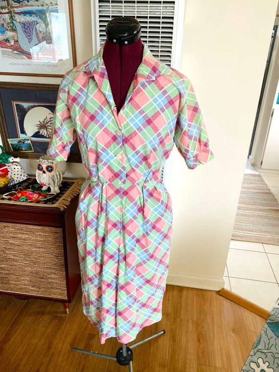 Vintage 1950s Pastel Plaid Dress