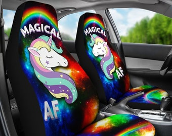 Magical AF Unicorn Car Seat Covers Cute Funny Rainbows Lover Gift Accessory Sparkles Clouds