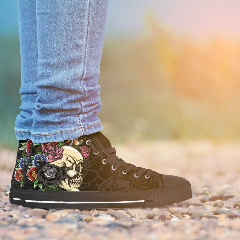 29f41a6cf08 Day of the Dead Gothic Tattoo Sugar Skull Womens High Top Sneakers Shoes  Black Roses Flowers