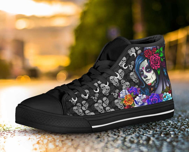 f625ca27dec Day of the Dead Gothic Sugar Skull Womens High or Low Top Sneakers Shoes  Black Roses Flowers