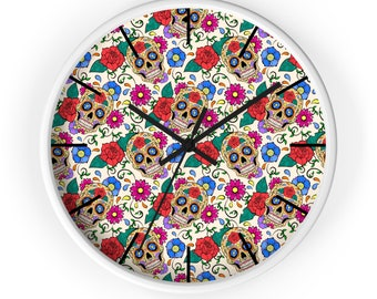 Day of the Dead Sugar Skull Paradise Wall Clock Skull Lover Gift Home Decor Time Death Gothic Bedroom Wall Flowers Roses