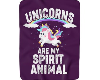 Unicorns Are My Spirit Animal Sherpa Fleece Blanket Rainbows Fantasy Unicorn Home Decor Unicorn Bedding Throw