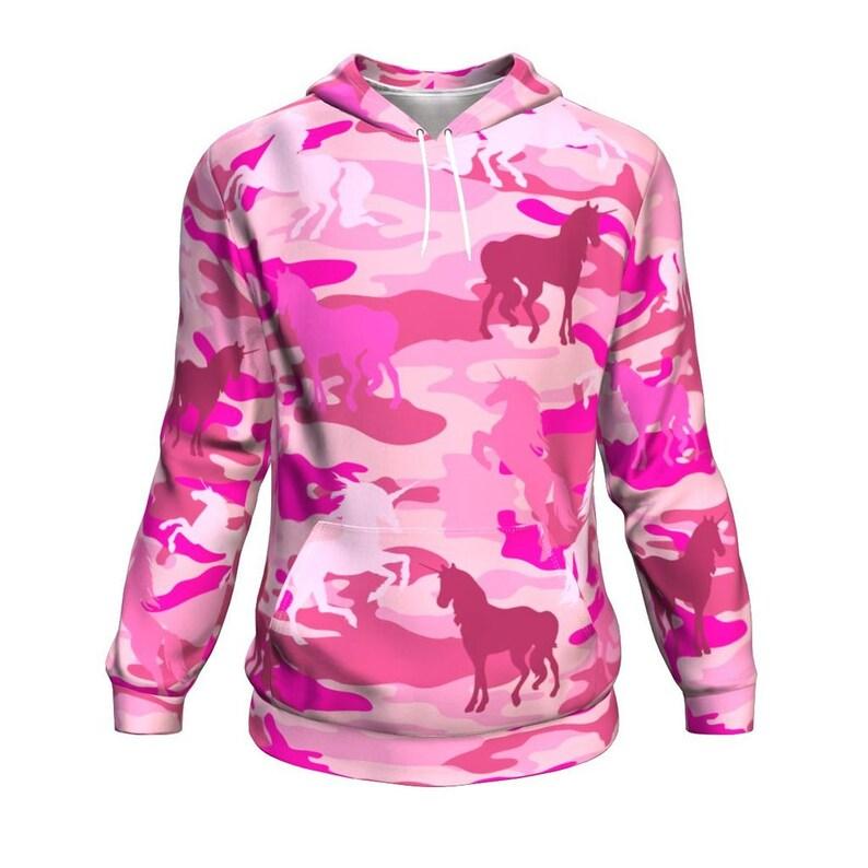 Unicorn Camo Camouflage Cute Women/'s Hoodie Pink Pullover Sweatshirt