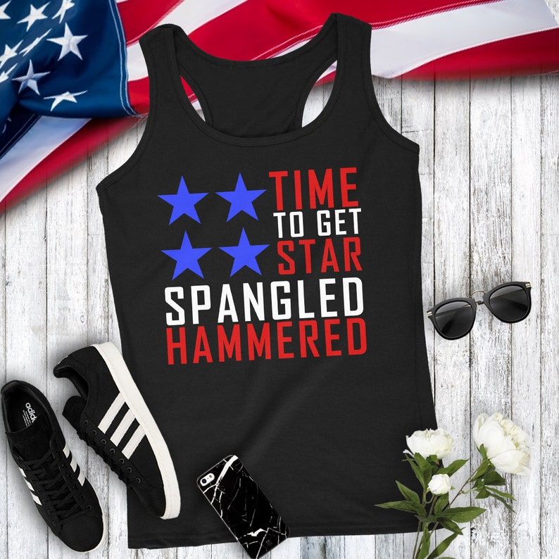 e9423b7c1bd30b Time To Get Star Spangled Hammered American Flag Women s