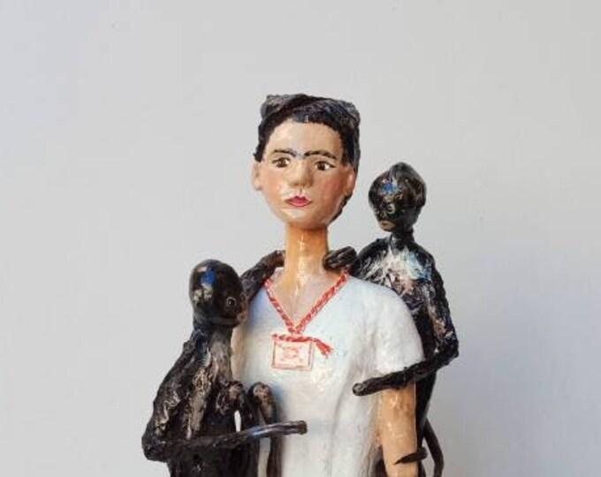 Frida Kahlo sculpture, Frida Kahlo with monkeys, Frida Kahlo figure, Frida Kahlo papier-mâché, Frida Kahlo doll, Frida Kahlo bust,