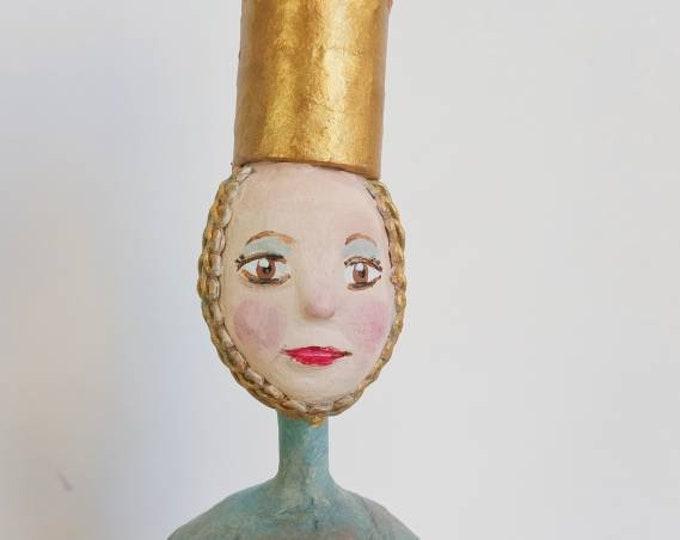 Roly poli ,tumbler doll ,tentetieso papier-mâché, Queen sculture, doll collection, doll unique piece, artistic doll, crafts Spain