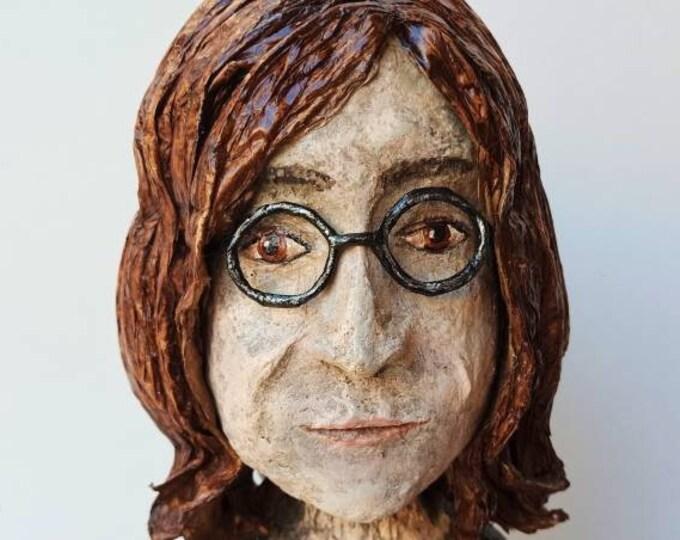 John Lennon sculpture, John Lennon bust, unique piece John Lennon, Beatles, paper sculpture, sculpture collection, pop art, crafts Spain