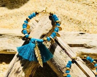 Tassel hoop earrings peacock blue