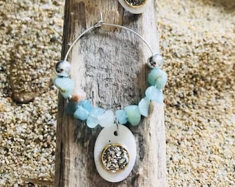 Silver hoop Pearl and aquamarine