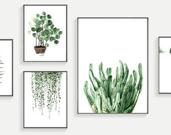 Set Of 5 Modern Modern Watercolor Green Plant Wall Art Print 300 Dpi Download For Print