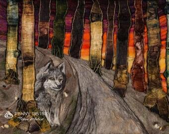 The Ancient One. Giclée Print. Wolf, felt, fibre