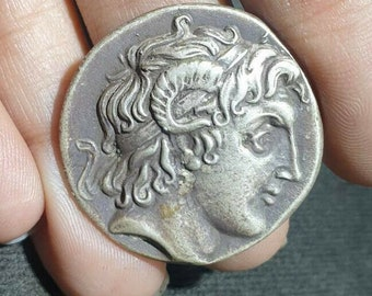 Ancient Alexander right In horn OF Ammon Athena Tetradrachm Sterling Silver Coin , collectible ancient coin. Ancient Greek coin