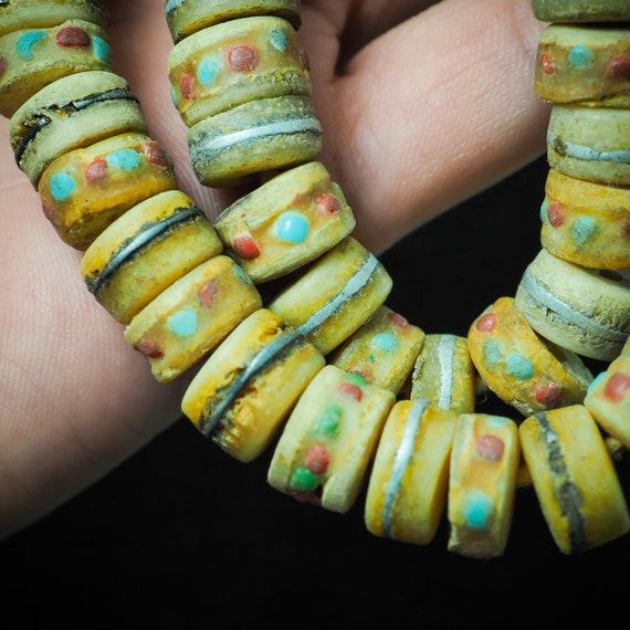 worry bead old antique yak bone prayer beads mala worry  Turquoise Red Coral Inlay sacred 108 old mala bead prayer bead rosary bead