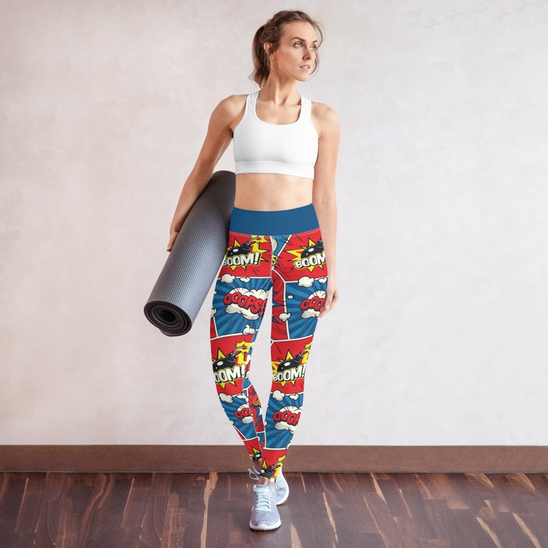 Comic Book Pattern Stretchy Comfortable High Waisted Yoga Leggings