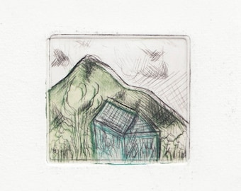 drypoint print, The blue house, original, illustration artprint