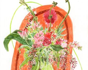 Botanical Illustration (Roses and Stalk Flowers)