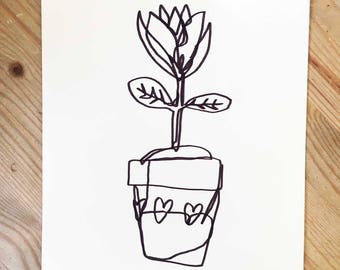 Pretty Little Pot   A5 Original Drawing   Super Cute Heart Warming Illustration Gift Flowers