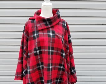 Red & Black Plaid Fleece Poncho