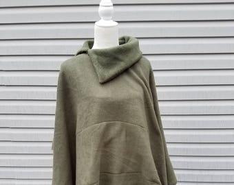 Rifle Green Fleece Poncho
