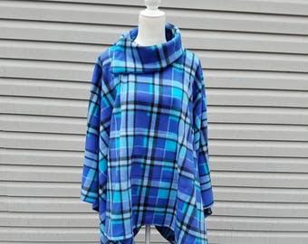 Blue Plaid Fleece Poncho