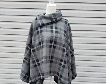 Charcoal Plaid Fleece Poncho