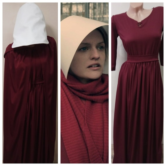 The Handmaid's Tale Costume Handmaids Tale Bonnet Dress Hooded Cloak Cap Offred costume