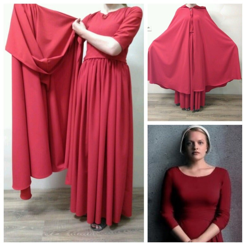 6e07eaf6c9f The handmaid's tale Costume Handmaids Tale Bonnet Red Dress Hooded Cloak  Cap Offred Halloween Costume Women Cosplay Renaissance Plus size