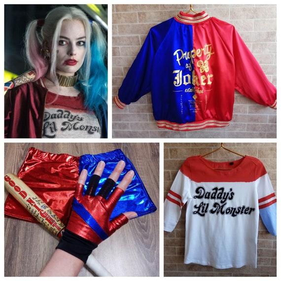 grandi affari outlet in vendita ultime tendenze Costume di Harley quinn per bambini cosplay di harley quinn costume panno  festival per il guanto pipistrello Lil Monster di papà di harley quinn ...